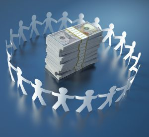 Circle of People with Dollar Stack